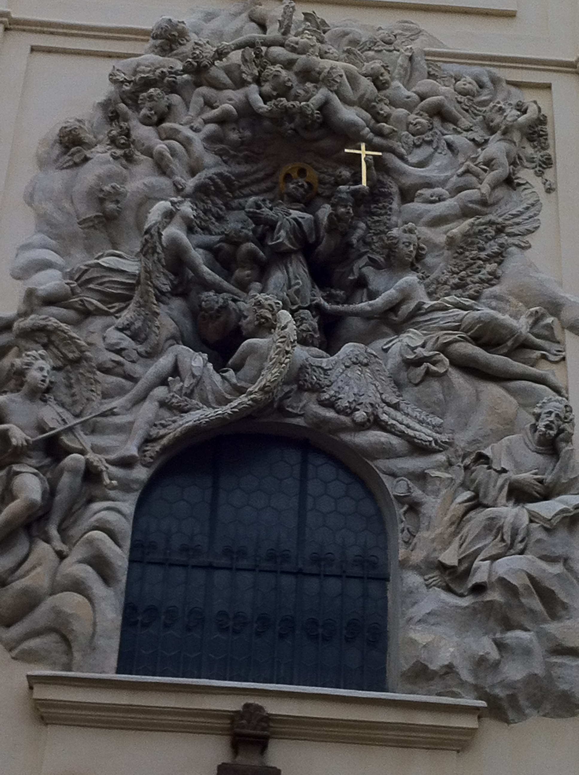 This carving is from the facade of St. Jakob's Church, the parish of the Butcher's Guild near the German merchant colony/neighborhood of the Ungelt.